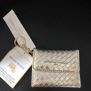 A.V. gold basket weave wallet id card RFID Keychai